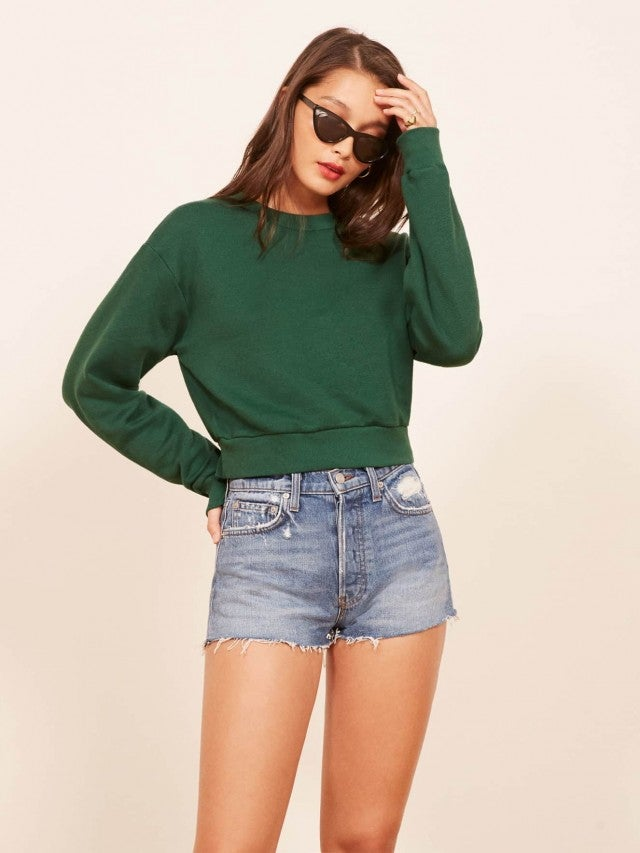 Reformation green sweatshirt