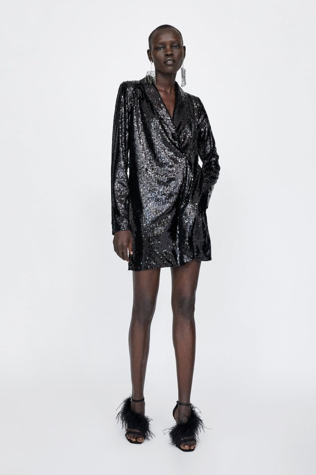 Zara black sequin dress