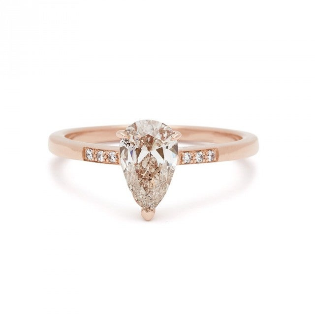 Anna Sheffield rose gold pear engagement ring