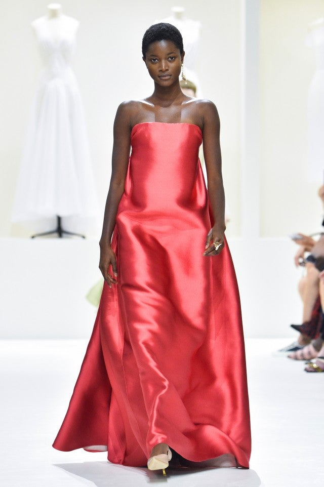 Dior couture fall 2018 red gown