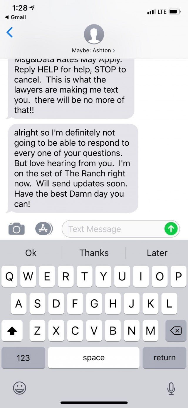 Ashton Kutcher Text