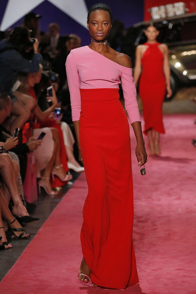 Brandon Maxwell pink and red spring 2019 gown