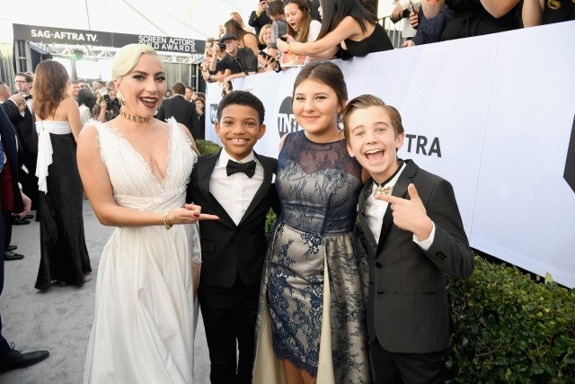Lady Gaga, Lonnie Chavis, Mackenzie Hancsicsak, and Parker Bates attend the 25th Annual Screen Actors Guild Awards at The Shrine Auditorium on January 27, 2019 in Los Angeles, California.