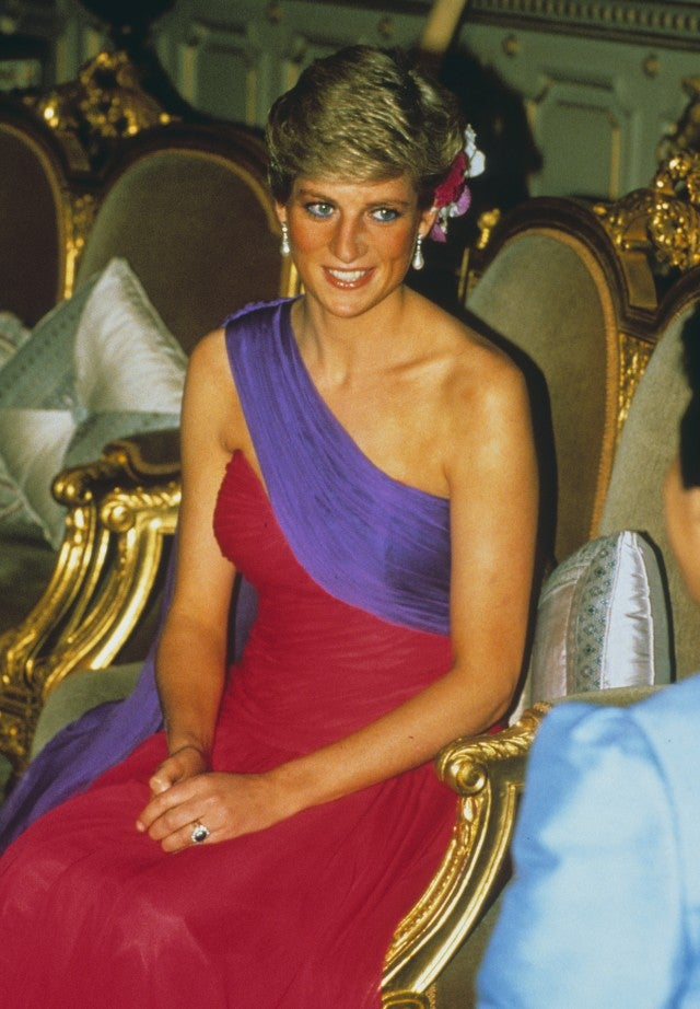 Princess Diana red and purple dress in Thailand 1988