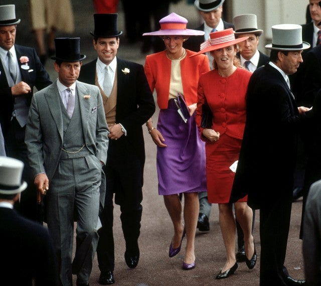 Princess Diana in red and purple 1990