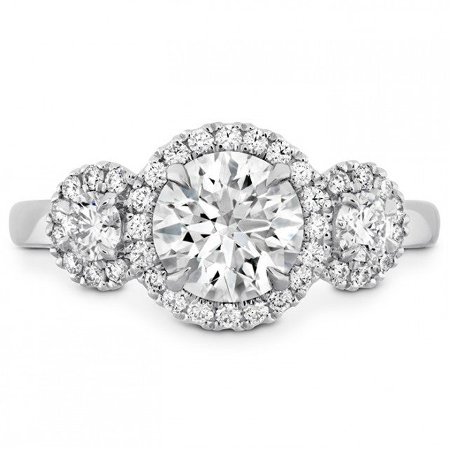 Hearts on Fire three-stone engagement ring