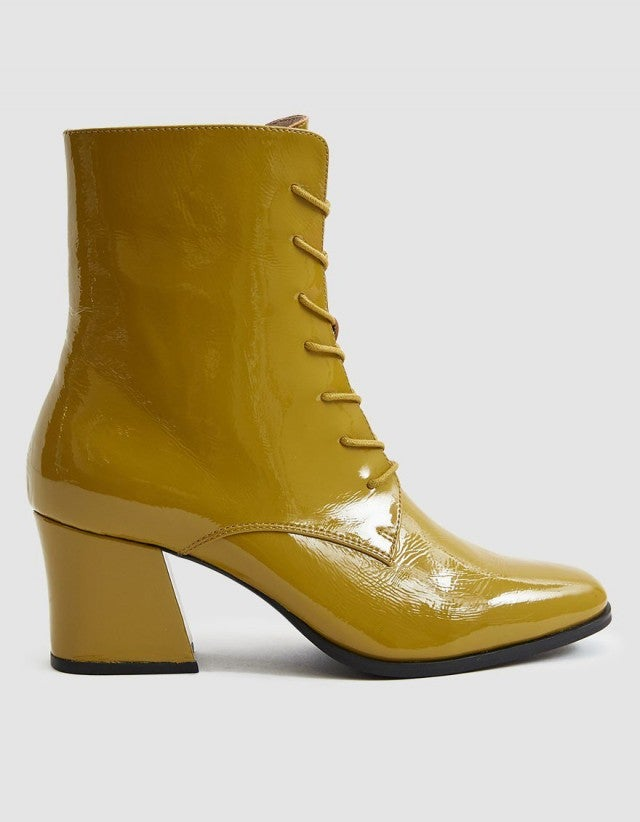 Intentionally Blank yellow patent leather boots