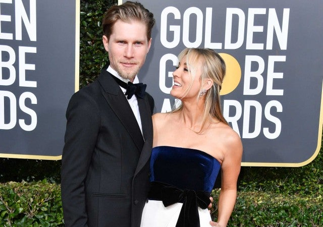 Karl Cook and Kaley Cuoco at the 2019 Golden Globes