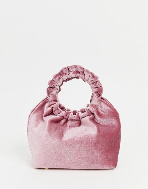 My Accessories pink velvet pouch bag