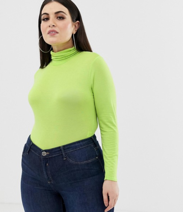 PrettyLittleThing plus neon green turtleneck