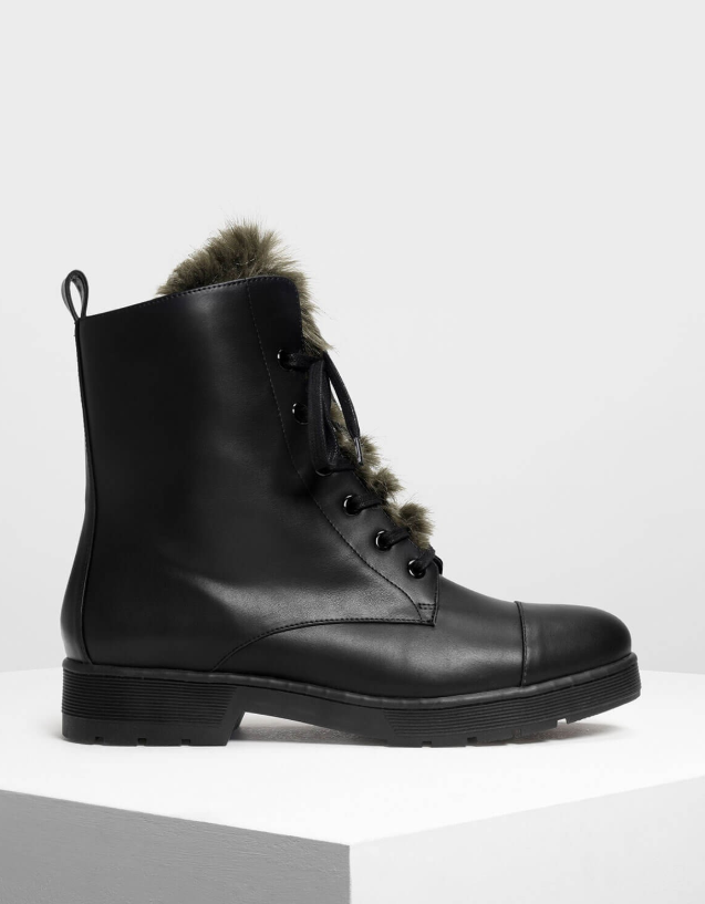 Charles & Keith furry detail combat boot