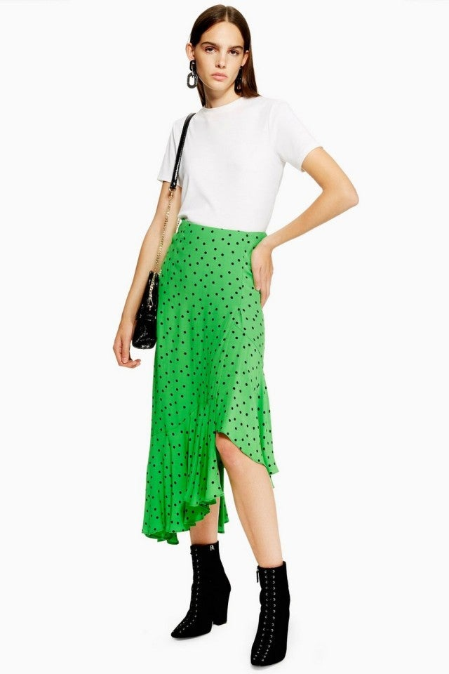 Topshop polka dot green skirt