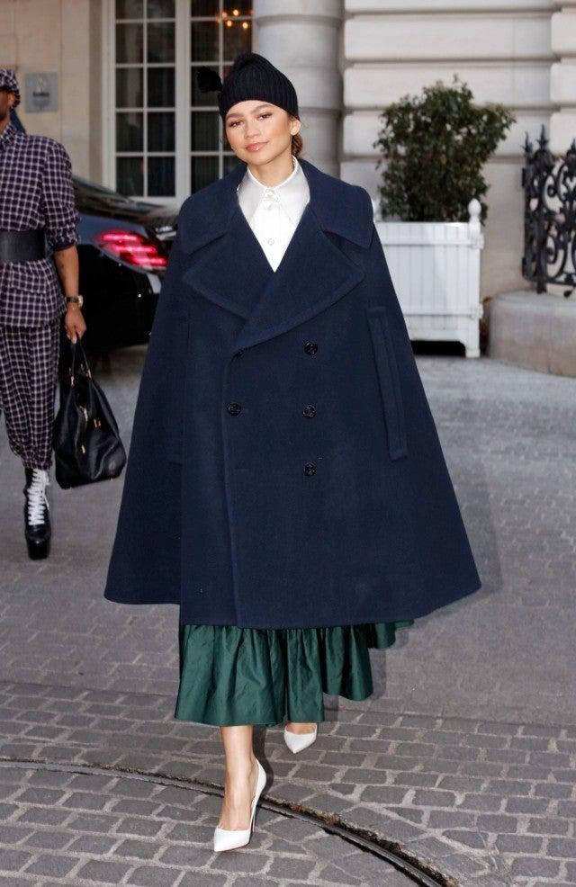 Zendaya Slays Paris Fashion Week In Mint Monochrome And Mary Poppins