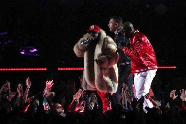 Big Boi Adam Levine of Maroon 5 and Sleepy Brown perform during the Pepsi Super Bowl LIII Halftime Show