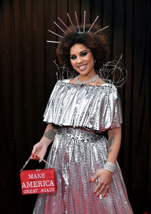 Princess Joy Villa at Grammys with MAGA bag