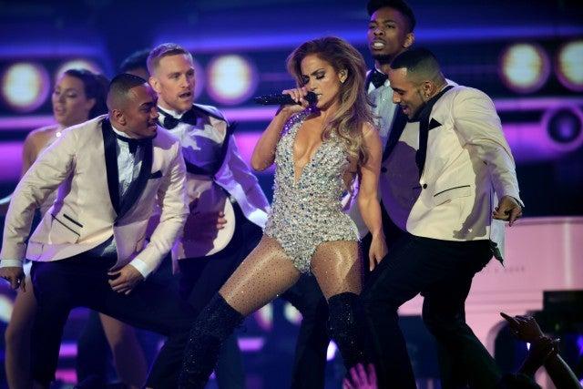 Jennifer Lopez performing at 2019 Grammys