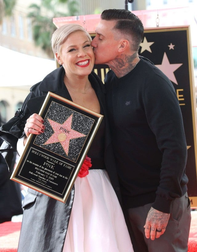 Carey Hart and Pink at Walk of Fame ceremony