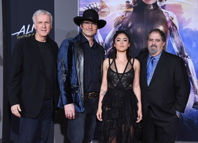 James Cameron, Robert Rodriguez, Rosa Salazar and Jon Landau Alita Premiere
