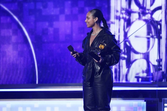 Alicia Keys in leather jumpsuit at Grammys
