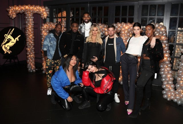 Rich Paul, Simon, Tristan Thompson, Khloe Kardashian, Lucas Newton, Kendall Jenner, Justine Skye, Jordan Woods and Kylie Jenner pose for a photo as Remy Martin celebrates Tristan Thompson's Birthday at Beauty & Essex on March 10, 2018 in Los Angeles.