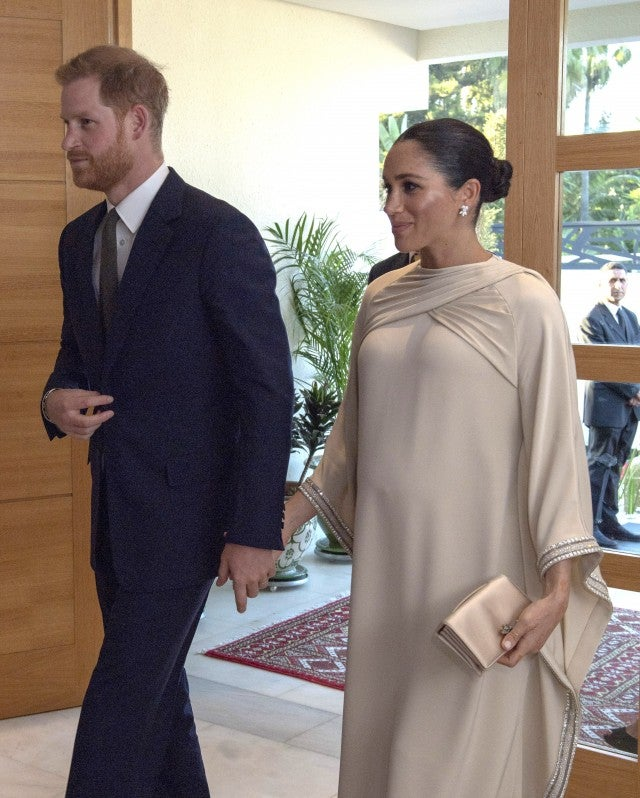 Prince Harry, Duke of Sussex and Meghan, Duchess of Sussex attend a reception hosted by the British Ambassador to Morocco at the British Residence during the second day of their tour of Morocco on February 24, 2019 in Rabat, Morocco.