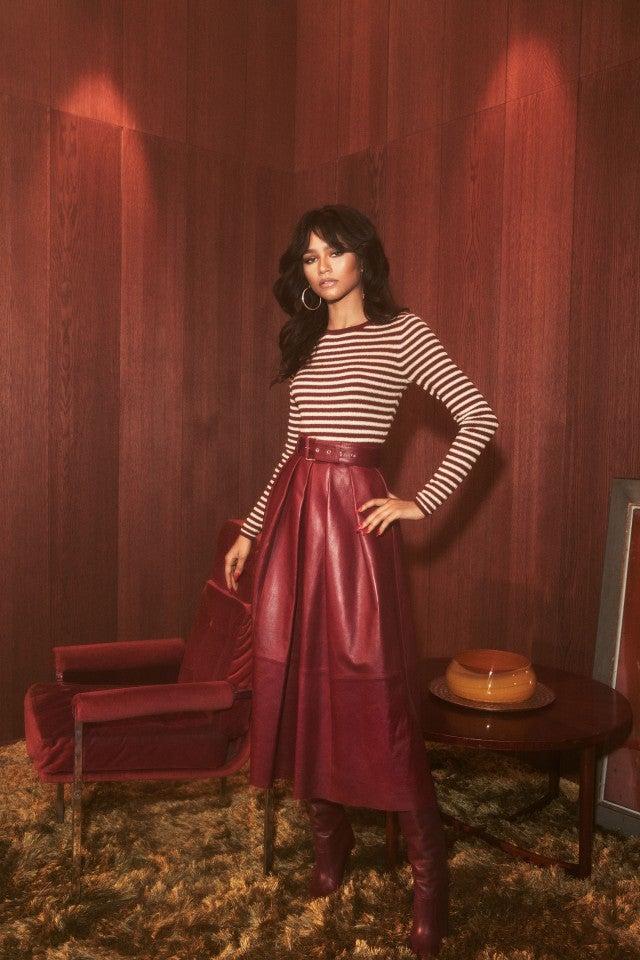 Zendaya x Tommy Hilfiger striped shirt and skirt