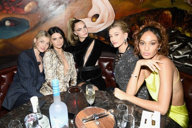 Elsa Hosk, Kendall Jenner, Cara Delevingne, Hailey Bieber and Joan Smalls at Times Square Edition party