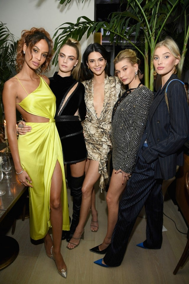 Joan Smalls, Cara Delevingne, Kendall Jenner, Hailey Bieber and Elsa Hosk at Times Square Edition party