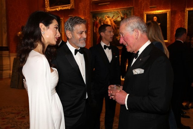 Amal & George Clooney with Prince Charles at Prince's Trust dinner