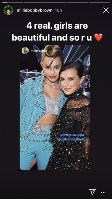 Miley Cyrus and Millie Bobby Brown