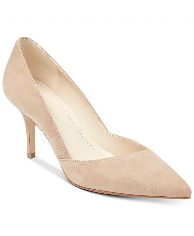 Marc Fisher nude suede pump