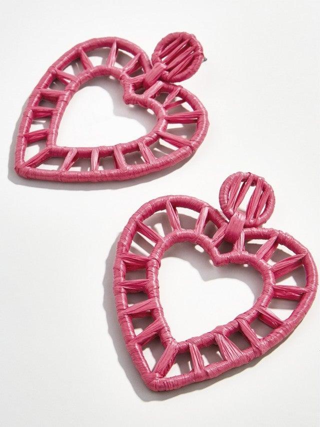 Baublebar Renata raffia heart earrings