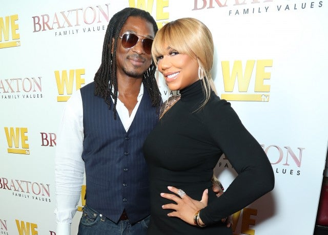 David Adefoso and Tamar Braxton at the 'Braxton Family Values' season six premiere event.