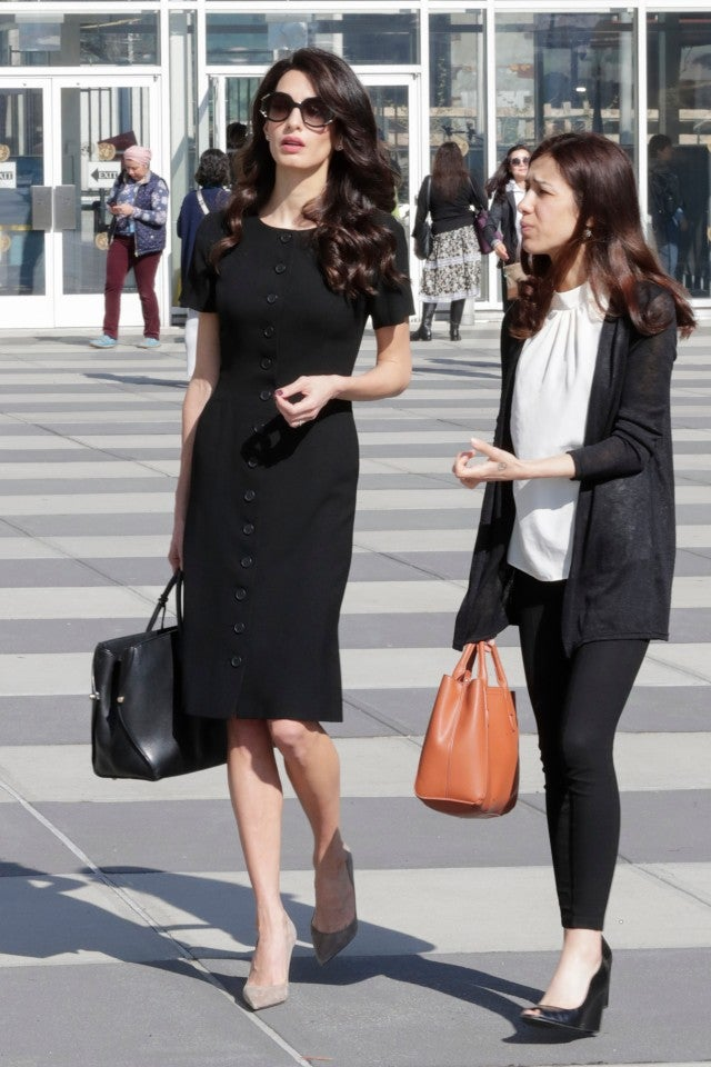 Amal Clooney Is A Polished Professional In Chic Black Dress