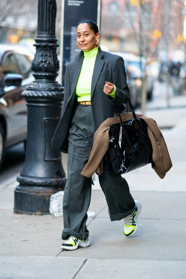 Tracee Ellis Ross in green top and gray suit
