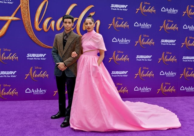 Mena Massoud and Naomi Scott  Aladdin Premiere