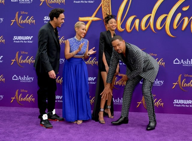 Trey Smith, Jada Pinkett Smith, Willow Smith, and Will Smith Aladdin Premiere