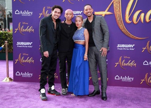 Trey Smith, Jaden Smith, Jada Pinkett Smith and Will Smith Aladdin Premiere