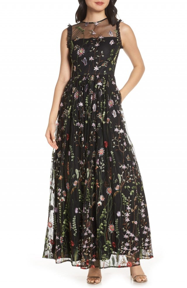 Morgan & Co. embroidered evening dress