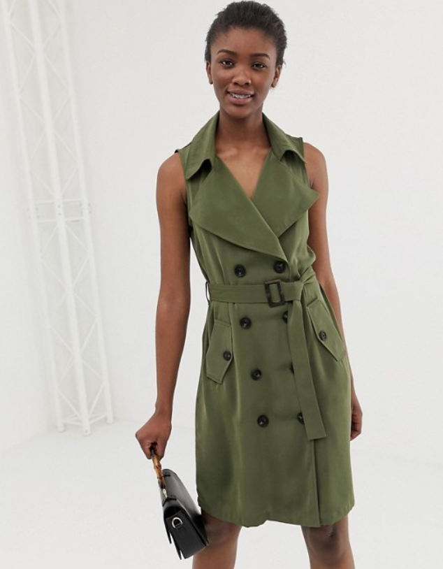30ba083dd4614 Donna Morgan Double-Breasted Belted Jacket Dress $40, Sale $29. Vero Moda  olive green trench dress