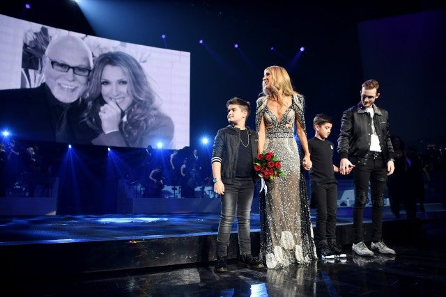 Celine Dion with sons Rene, Eddy and Nelson.