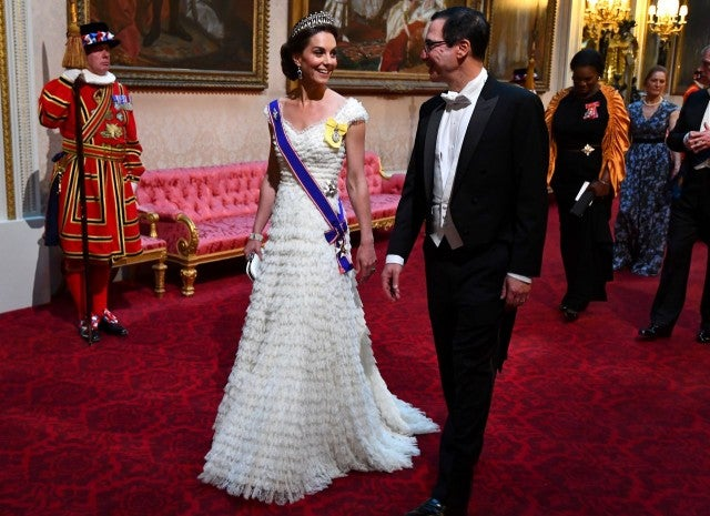 Kate Middleton attends State Banquet in Alexander McQueen gown