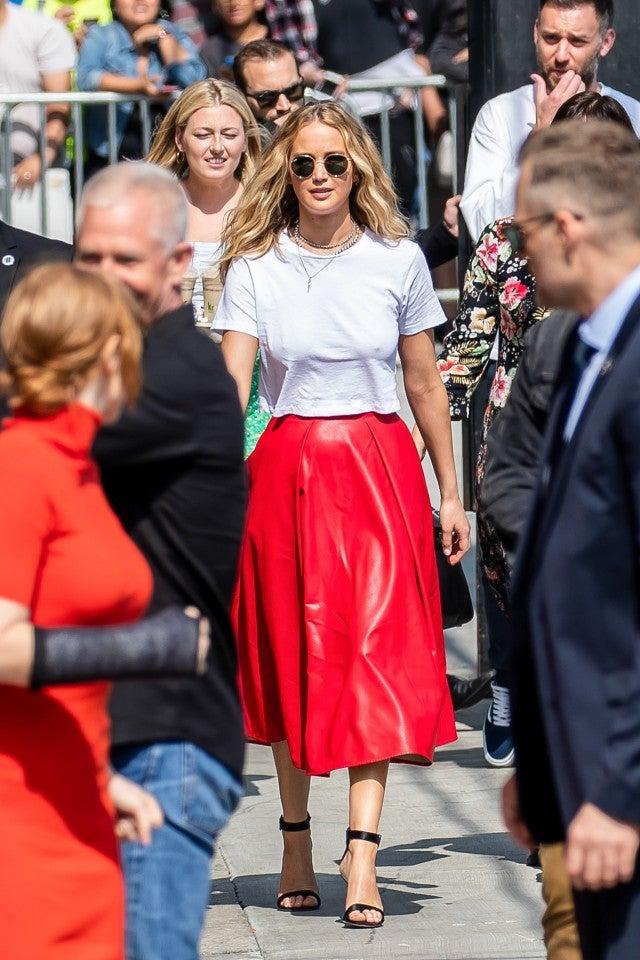 Jennifer Lawrence in red skirt