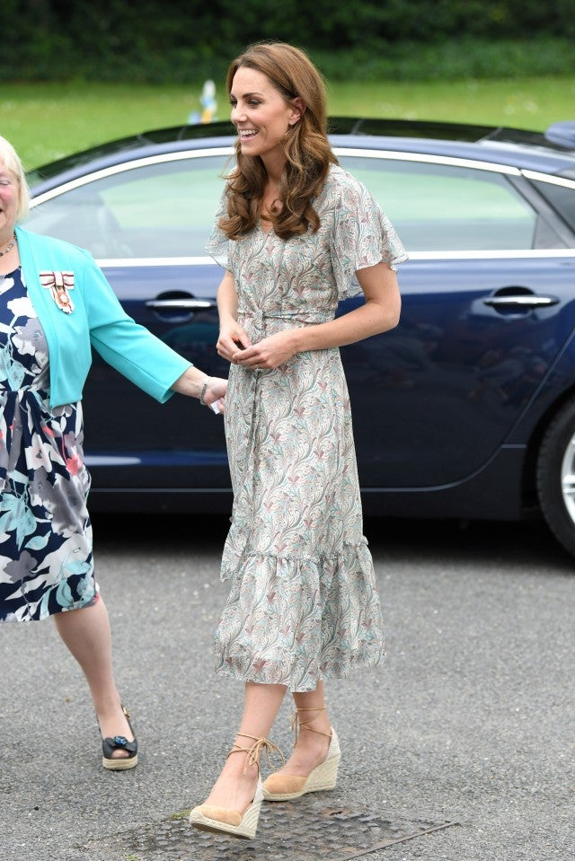 Kate Middleton in printed dress and espadrille wedges