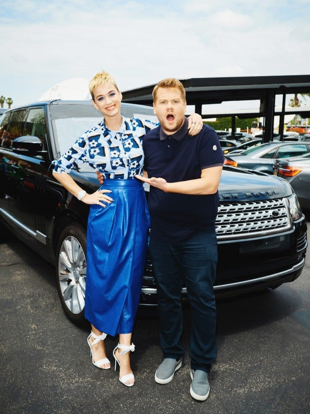 "Katy Perry performs a Carpool Karaoke during ""The Late Late Show with James Corden"" in 2017"
