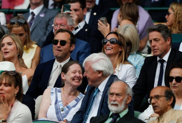 Jude Law and Hugh Grant at Wimbledon