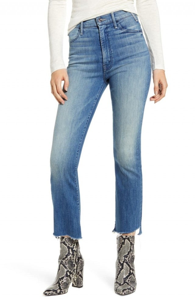 Mother the hustler two step fray jeans