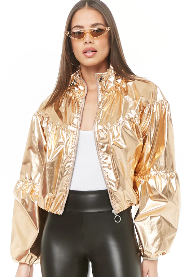 Forever 21 gold metallic jacket