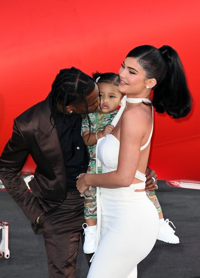 Travis Scott, Stormi Webster, and Kylie Jenner at the premiere of Netflix's