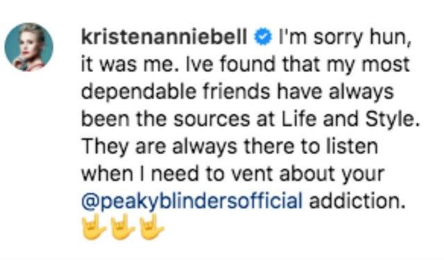 Kristen Bell's Comment